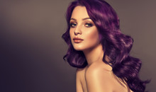"""Постер, картина, фотообои """"Beautiful model girl with long purple curly hair . Care products ,hair colouring .  Treatment, care and spa procedures. Medium length hairstyle. Coloring, ombre,  and highlighting . Hair coloring """""""