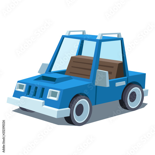 Wall mural blue cartoon car