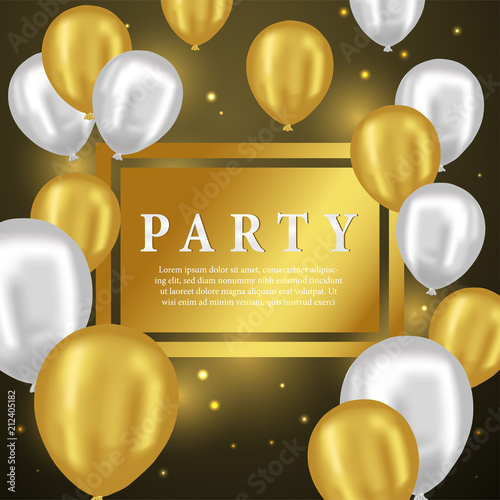 3D Gold and Silver Balloon Party for Greeting Card