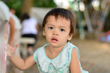 Asian baby girl in playground. - 212405568