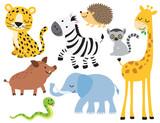 Vector illustration of cute wild animals including leopard, zebra, giraffe, elephant, boar, hedgehog, snake, elephant and lemur.