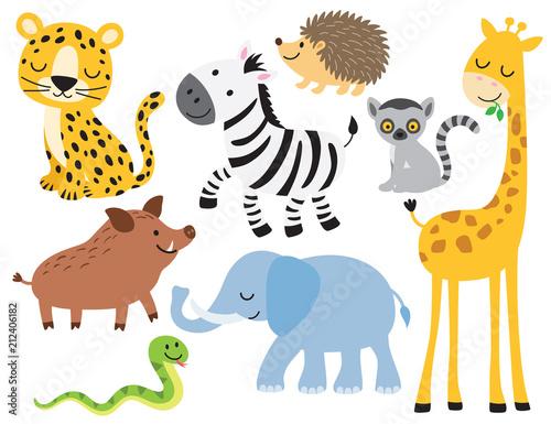 Fototapeta Vector illustration of cute wild animals including leopard, zebra, giraffe, elephant, boar, hedgehog, snake, elephant and lemur.