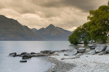 Queentown water lake New Zealand natural landscape background
