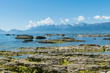 Beauty sea coast at Kaikoura beach East Coast of New Zealand, natural landscape background