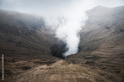 view of volcanic vent of Mount Bromo