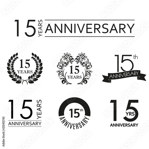 15 Years Anniversary Icon Set 15th Anniversary Celebration Logo