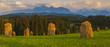 Haystacks at the foot of the mountains,spring panorama of the Tatra Mountains, Poland