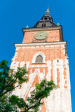 vertical photograph on a sunny day Tower of the Hall in the main square of Krakow in Poland