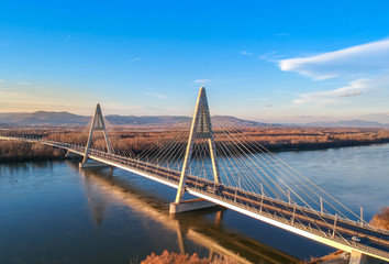 Aerial photo of Megyeri bridge in Budapest © anderm
