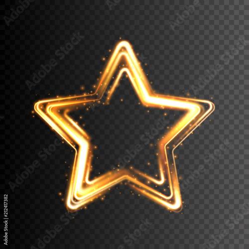 Świecącą złotą gwiazdę. Przejrzysty efekt świetlny. Ilustracji wektorowych