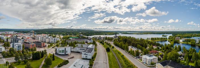 Rovaniemi Finland, panorama of the city with Kemijoki river in the back and Ounasvaara fell © Vilhelm
