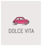fiat 500 et dolce vita, logo, vintage, automobile