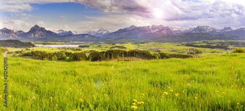 Aluminium Pistache Panorama Landschaft am Forggensee im Allgäu