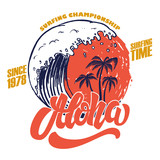 Aloha. Surfing time. Poster template with lettering and palms. - 212422347