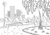 Park lake graphic black white landscape sketch illustration vector - 212423398