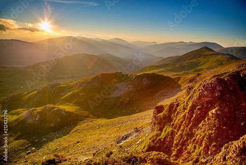 Plexiglas Zonsopgang Summer sunrise in Parang Mountains, Romania