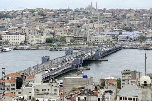 Galatabrücke, Goldenes Horn, Ausblick vom Galataturm, Istanbul, europäischer Teil, Türkei, Asien - 212429188