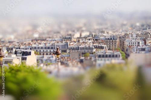 Scenic view from the top of Montmartre, Sacre Coeur. Paris, France. Miniature tilt shift lens effect. © fischers
