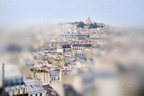 Scenic view from the top of The Centre Pompidou. Sacre Coeur. Paris, France. Miniature tilt shift lens effect. © fischers