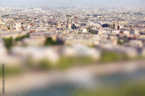Panoramic view of Paris, France. Miniature tilt shift lens effect. © fischers