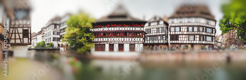 Panoramic view on Nice canal with houses in Strasbourg, France. Miniature tilt shift lens effect. © fischers