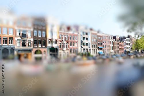 Typical dutch houses in Amsterdam. Miniature tilt shift lens effect. © fischers