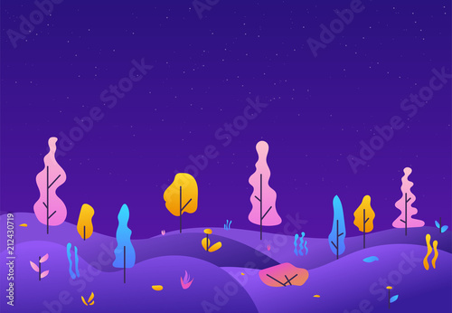 Fotobehang Violet City park lawn and trees. Flat style line vector illustration. Futuristic landscape of other planet. Retro gradient colors and kids style illustration. Starry night and purple trees.