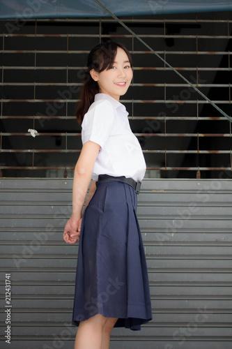 478319ff1 Portrait of thai high school student uniform teen beautiful girl happy and  relax