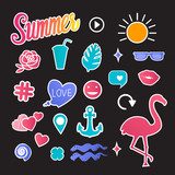 Vector Summer set illustrations icon Isolated on a dark background.