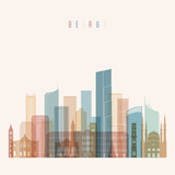 Beirut skyline detailed silhouette. Transparent style. Trendy vector illustration. - 212439975