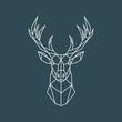 Polygonal deer portrait. Geometric animal illustration. Reindeer poster. Scandinavian style. Vector print.
