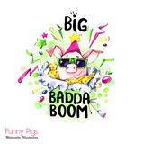 Greeting holidays illustration. Watercolor cartoon pig with lettering and confetti. Funny quote. Party symbol. Gift. Perfect for T-shirts, invitations, cards, phone cases. - 212440306