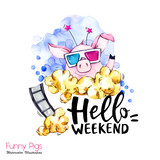 Greeting holidays illustration. Watercolor cartoon pig with weekend lettering and pop corn . Funny quote. Party symbol. Gift. Perfect for T-shirts, invitations, cards, phone cases. - 212440339