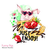 Greeting holidays illustration. Watercolor cartoon pig with weekend lettering and cream. Funny dessert. Party symbol. Gift. Perfect for T-shirts, invitations, cards, phone cases. - 212440352