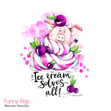 Greeting holidays illustration. Watercolor cartoon pig with lettering and cream. Funny dessert. Party symbol. Gift. Perfect for T-shirts, posters, invitations, phone cases. - 212440376