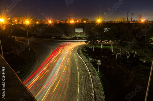 Canvas Nacht snelweg Night city landscape