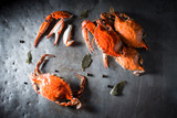 Boiled crab with spices on old metal plate - 212460335