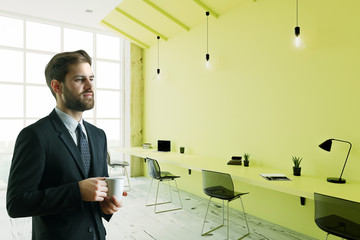 businessman in lime color office