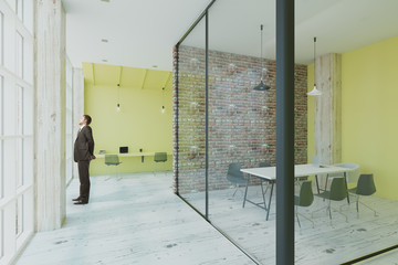 lime, brick and glass walls in office