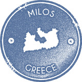 Milos map vintage stamp. Retro style handmade label, badge or element for travel souvenirs. Light blue rubber stamp with island map silhouette. Vector illustration. - 212472555