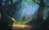 Game Art Fantasy Forest Environment. Digital CG Artwork, Concept Illustration, Realistic Cartoon Style Scene Design - 212474908