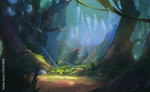 Game Art Fantasy Forest Environment. Grafika cyfrowa CG, ilustracja koncepcja, realistyczny scenografii stylu Cartoon