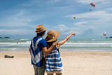 Loving couple traveler making selfie on the tropical beach - 212475362