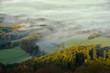 Leinwanddruck Bild - Morgennebel auf der Schwaebischen Alb
