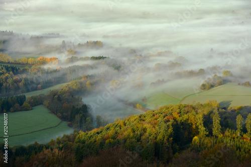 Leinwanddruck Bild Morgennebel auf der Schwaebischen Alb