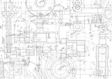 Technical drawing background .Mechanical Engineering drawing - 212482321