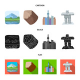 Lakes, mountains, the tower of SI-EN and other symbols of Canada.Canada set collection icons in cartoon,black,flat style vector symbol stock illustration web.