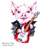 Children illustration. Watercolor rocker pig in jacket with electric guitar. Funny guitarist. Punk music. Symbol of 2019 year. Perfect for T-shirts, posters, cards, phone cases. - 212483145