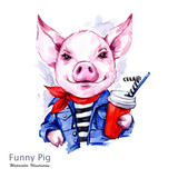 Summer holidays illustration. Watercolor cartoon pig in jeans jacket with drink. Funny weekend. Fashion. Symbol of 2019 year. Perfect for T-shirts, invitations, cards, phone cases. - 212483177