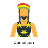 Jamaican icon vector sign and symbol isolated on white background, Jamaican logo concept